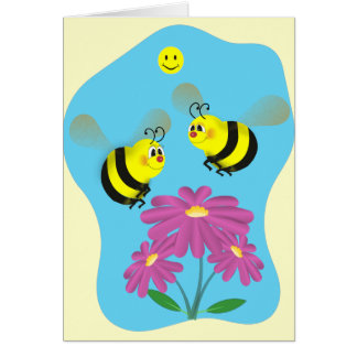 Cartoon-Hummel-Bienen Karte
