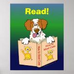 Cartoon-Hund las lustige Schulpädagogische Lesung Posterdruck