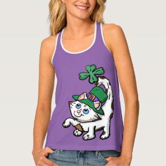 Cartoon-irisches Kätzchen-Shirt Tanktop