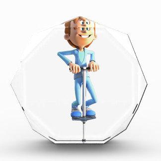 Cartoon-Junge auf einem Pogo Stock Auszeichnung
