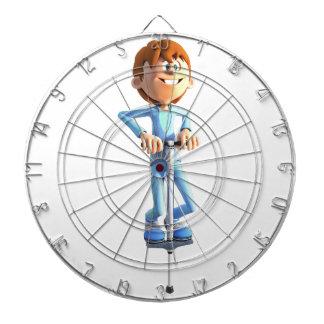 Cartoon-Junge auf einem Pogo Stock Dartscheibe