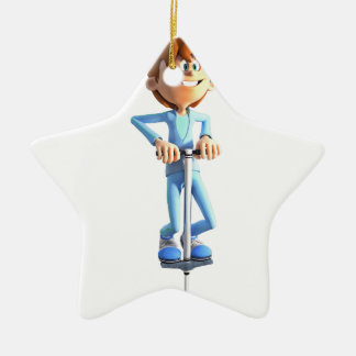 Cartoon-Junge auf einem Pogo Stock Keramik Ornament