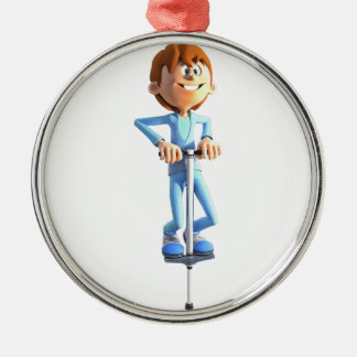 Cartoon-Junge auf einem Pogo Stock Silbernes Ornament