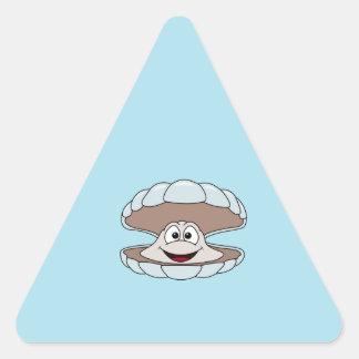 Cartoon-Kamm-Muschel-Schalentier-Muschel Dreieckiger Aufkleber
