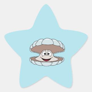 Cartoon-Kamm-Muschel-Schalentier-Muschel Stern-Aufkleber