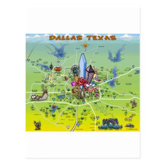 Cartoon-Karte Dallas Texas Postkarte