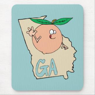 Cartoon-Karte Georgia GA mit lustigem lächelndem Mauspad