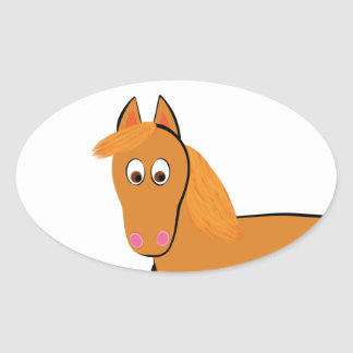 Cartoon-Kastanien-Pferd Ovaler Aufkleber