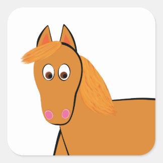 Cartoon-Kastanien-Pferd Quadratischer Aufkleber
