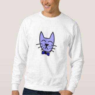 Cartoon-Katzen-Gesicht mit Bogen-Krawatte Sweatshirt