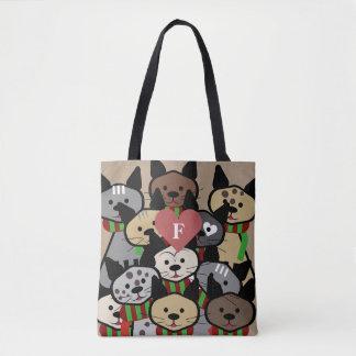 Cartoon-Katzen-Monogramm Tasche