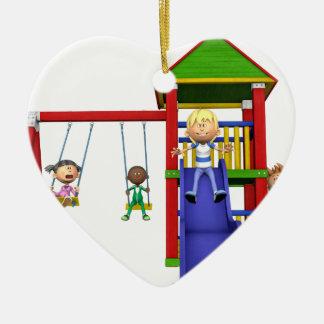 Cartoon-Kinder an einem Spielplatz Keramik Ornament