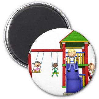 Cartoon-Kinder an einem Spielplatz Runder Magnet 5,7 Cm