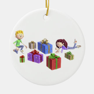 Cartoon-Kinder, die Geschenke öffnen Keramik Ornament