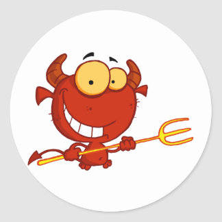 Cartoon-kleiner Teufel mit Heugabel Runder Aufkleber
