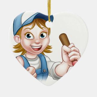 Cartoon-Klempner-Frau, die Kolben hält Keramik Ornament