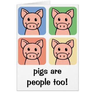 Cartoon-Klipp-Kunst-Schweine sind Leute auch! Karte