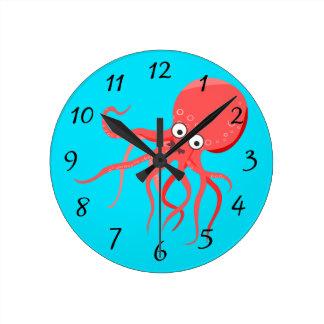 Cartoon-Kraken-Hintergrund Runde Wanduhr