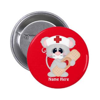 Cartoon-Krankenschwester-Maus addieren Namensknopf Runder Button 5,1 Cm