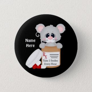 Cartoon-Krankenschwester-Maus addieren Namensknopf Runder Button 5,7 Cm