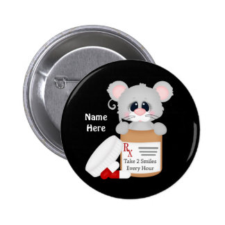 Cartoon-Krankenschwester-Maus addieren Namensknopf Runder Button 5,7 Cm