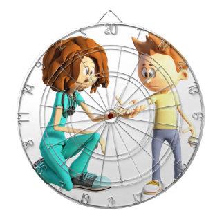 Cartoon-Krankenschwester und kleiner Junge Dartscheibe