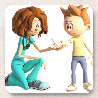 Cartoon-Krankenschwester und kleiner Junge Getränkeuntersetzer