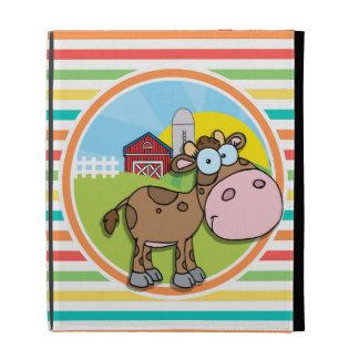Cartoon-Kuh; Helle Regenbogen-Streifen