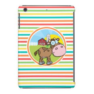 Cartoon-Kuh; Helle Regenbogen-Streifen iPad Mini Retina Schale