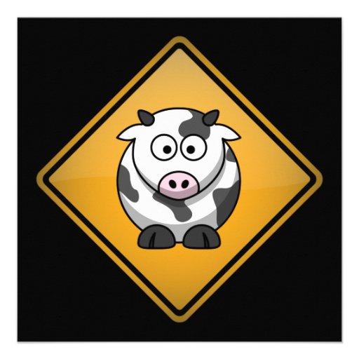 Cartoon-Kuh-Warnzeichen Ankündigung