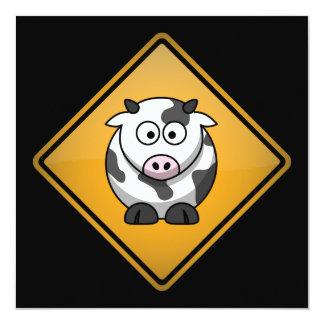 Cartoon-Kuh-Warnzeichen Quadratische 13,3 Cm Einladungskarte