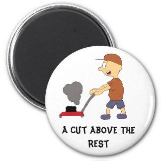 Cartoon-Mann mit Rasenmäher Magnete