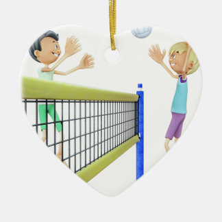 Cartoon-Männer, die Volleyball spielen Keramik Herz-Ornament