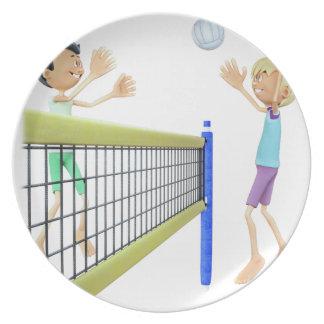 Cartoon-Männer, die Volleyball spielen Teller
