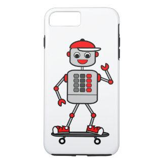 Cartoon-männlicher Roboter auf Skateboard iPhone 8 Plus/7 Plus Hülle