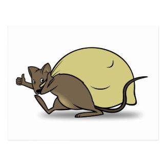 Cartoon-Mäusetragende Tasche und aufgeben Daumen Postkarte