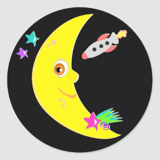 Cartoon-Mond-Rocket-Aufkleber Runder Aufkleber