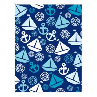 Cartoon-Muster mit Segelbooten Postkarte
