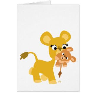 Cartoon-Mutter-Löwe- und CUB-Grußkarte Karte