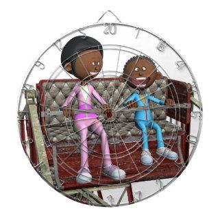 Cartoon-Mutter und Sohn auf einem Riesenrad Dartscheibe