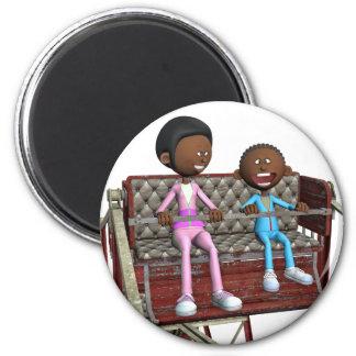 Cartoon-Mutter und Sohn auf einem Riesenrad Runder Magnet 5,1 Cm