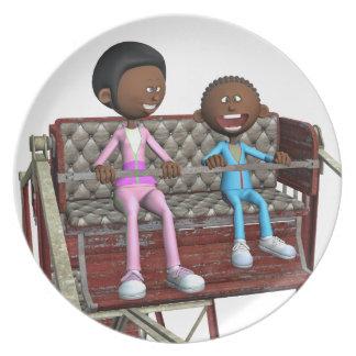 Cartoon-Mutter und Sohn auf einem Riesenrad Teller