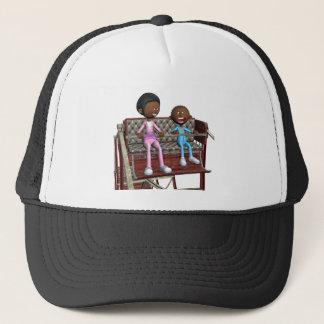 Cartoon-Mutter und Sohn auf einem Riesenrad Truckerkappe