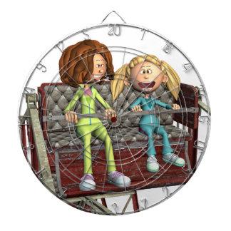 Cartoon-Mutter und Tochter auf einem Riesenrad Dartscheibe