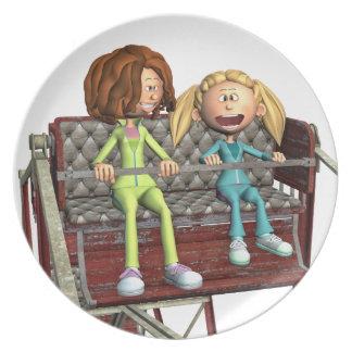 Cartoon-Mutter und Tochter auf einem Riesenrad Melaminteller