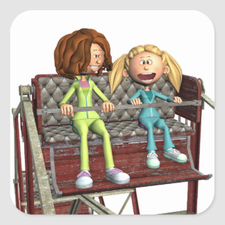 Cartoon-Mutter und Tochter auf einem Riesenrad Quadratischer Aufkleber