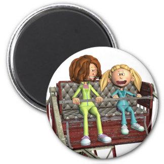 Cartoon-Mutter und Tochter auf einem Riesenrad Runder Magnet 5,7 Cm