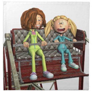 Cartoon-Mutter und Tochter auf einem Riesenrad Stoffserviette
