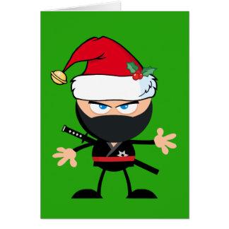 Cartoon Ninja Krieger im Weihnachtsmann-Hut-Grün Karte