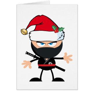Cartoon Ninja Krieger in Weihnachtsmann-Hut Karte